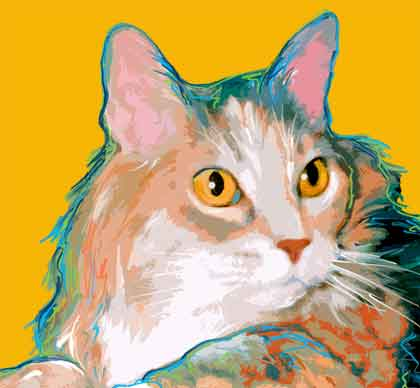 feline portrait art
